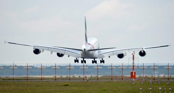 A380 pousa no aeroporto de Frankfurt