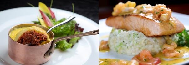 À esquerda: hachi parmentier (escondidinho) de cordeiro do Bistrô La Palette. À direita, salmão grelhado ao molho de camarão com risotinho de verduras do Matisse