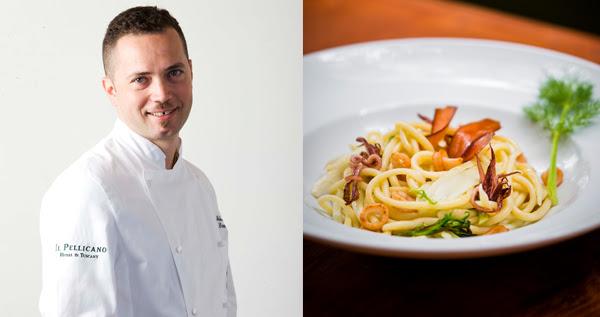 O chef italiano Sebastiano Lombardi e um dos pratos que servirá no Buttina, a massa fresca com erva doce, ovas de tainha e mini lulas