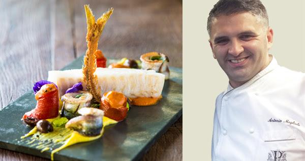 Bacalhau, creme de batata com baunilha, pimentões assados e azeitona de Gaeta, uma das  criações do chef Antonio Magliulo