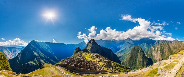 Panorama of Mysterious city - Machu Picchu, Peru,South America. The Incan ruins and terrace. Example of  polygonal masonry and skill