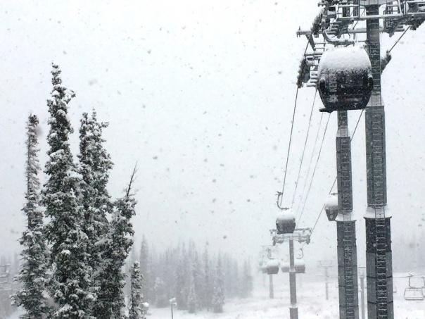 Keystone em alta temporada. A região já registrou mais de 30 centímetros de neve